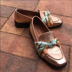 Jeffrey Campbell Bolero rose gold scarf loafers